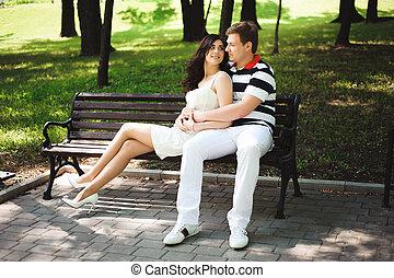 été, couple, parc, jeune, temps