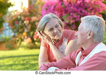 été, couple, parc, mûrir
