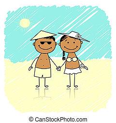 été, couple, plage, holidays., heureux