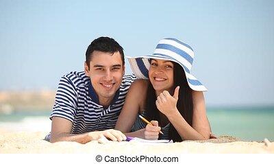 été, couple, plage, jeune