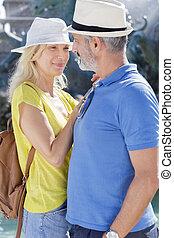 été, couple, vacances, personne agee