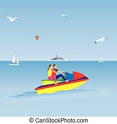 été, couple, vacances ski, jet