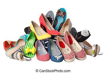 été, coupure, chaussures, tas, divers, femme, sentier