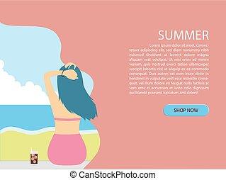 été, coupure, fond, dos, jeune, bikini, papier, mer, girl, plage, style., vue