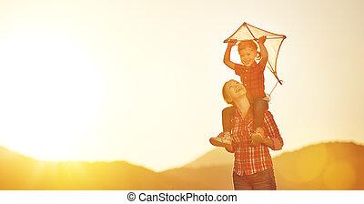 été, course, pré, famille, mère, enfant, heureux, cerf volant