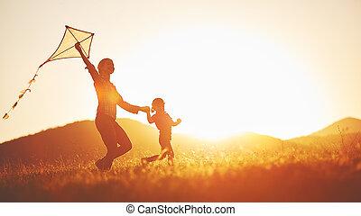 été, course, pré, famille, nature, mère, enfant, heureux, cerf volant