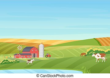 été, coutryside, tracteur, tour temps, paysage, cheval, lac bleu, ferme, grange, plat, vache, eco, orange, chaud, illustration., champs, ensilage, vecteur, vert, propre, petite maison, éolienne