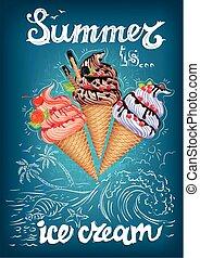 été, crème, glace mer, affiche