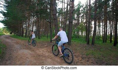 été, cyclisme, couple, jeune, champ, sentier, heureux