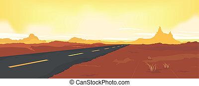 été, désert, route
