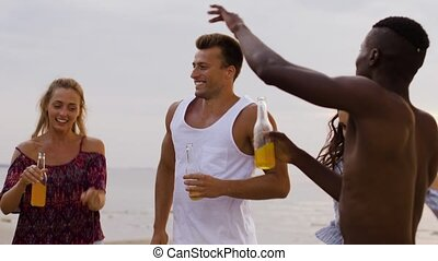 été, danse, amis, fête, plage, heureux