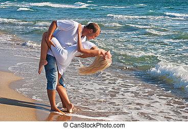 été, danse, couple, mer, plage, aimer