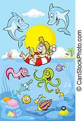 été, dauphin, mer, temps
