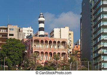 été, day., central, partie, ensoleillé, beyrouth, bâtiments, vieux, résidentiel, lebanon.