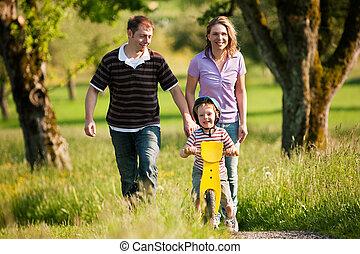 été, dehors, avoir, famille, promenade
