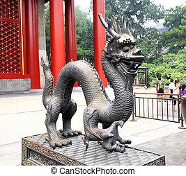 été, dehors, statue, palais, dragon