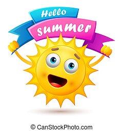 été, dessin animé, fond, soleil, heureux