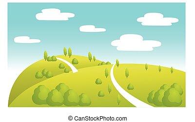 été, dessin animé, paysage