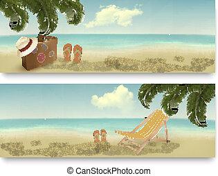 été, deux, vacances, banners., retro, vector.