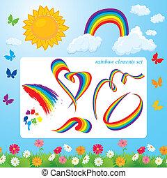 été, différent, ensemble, arcs-en-ciel, nuages, formes, flowers., éléments, soleil, temps, papillons, design.