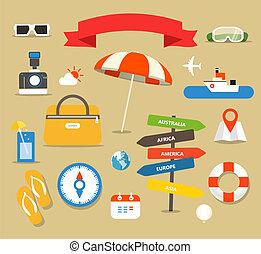 été, différent, illustration., bord mer, vacances, ...