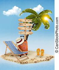 été, direction, concept, arrière-plan., vacances, signe, arbre, paume, chair., vector., plage