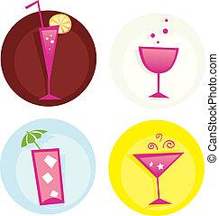 été, drinks., mélange, iconset., chaud, vector., boissons