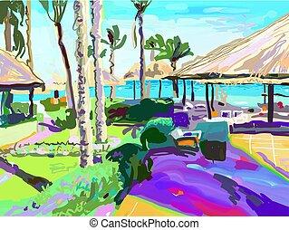 été, egypte, plage, tr, paume, numérique, peinture, paysage