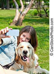 été, elle, selfie, chien, arrière-plan vert, girl, herbe