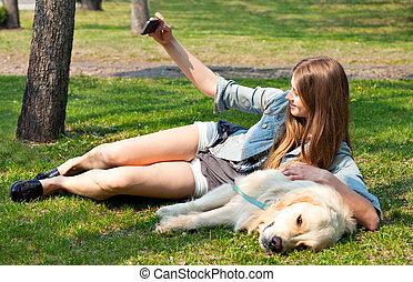 été, elle, selfie, chien, vert, grass.., fond, girl
