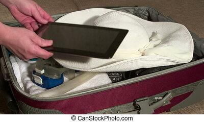 été, emballage, vacances, bagage