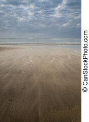 été, encombrements, plage, coucher soleil, paysage