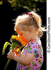 été, enfant, jardin fleur, soleil