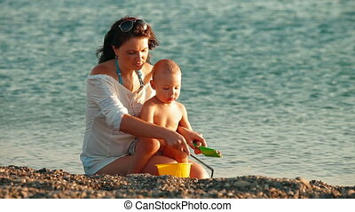 été, enfant, plage, mère