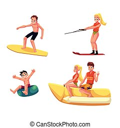 été, ensemble, activités, gens, eau, amusement, apprécier, avoir