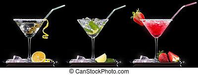 été, ensemble, alcool, cocktail, fruits