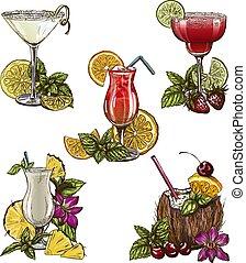 été, ensemble, cinq, cocktails