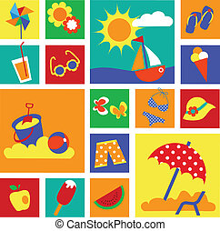 été, ensemble, coloré, icônes