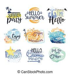 été, ensemble, coloré, promo, vacances, signes