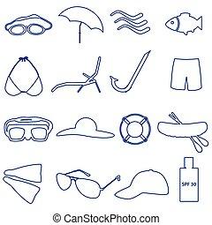 été, ensemble, eps10, contour, icônes, simple, plage
