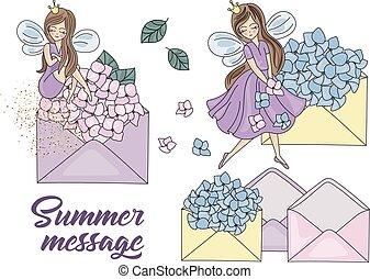 été, ensemble, fée, illustration, dessin animé, vecteur, message, princesse