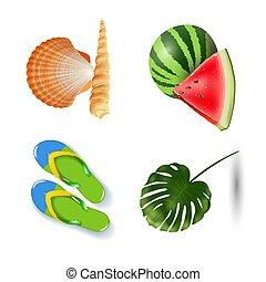 été, ensemble, icônes, bord mer, isolé, illustration, fetes, réaliste, vecteur, fond, plage blanche
