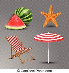 été, ensemble, icônes, bord mer, isolé, illustration, fetes, réaliste, vecteur, fond, plage, transparent