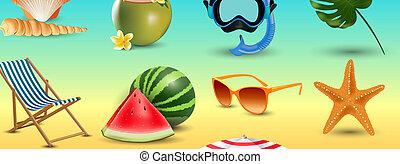 été, ensemble, icônes, bord mer, isolé, illustration, fetes, réaliste, vecteur, fond, plage