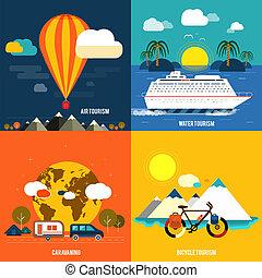 été, ensemble, icônes, vacances, planification, voyager