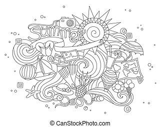 été, ensemble, illustration, main, vecteur, dessiné, doodles, éléments