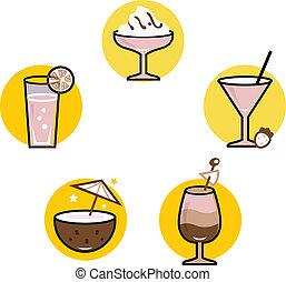 été, ensemble, isolé, cocktails, retro, blanc