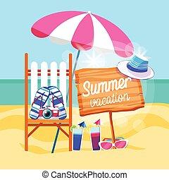 été, ensemble, parapluie, bannière, vacances, exotique, sunbed, plage sable