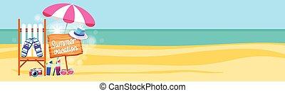 été, ensemble, parapluie, espace, bannière, vacances, exotique, sunbed, sable, copie, plage