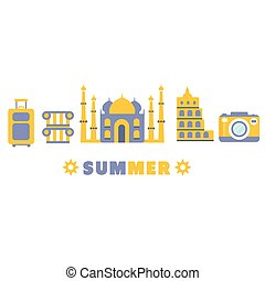été, ensemble, touristique, vacances, symboles, cinq, ligne